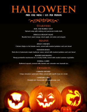 Halloween Pumpkin Menu