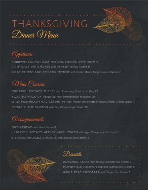 Special Thanksgiving Menu