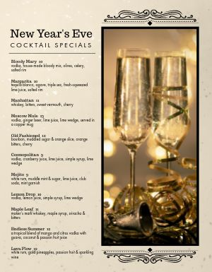 New Years Golden Drink Menu