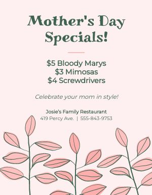 Mothers Day Specials Flyer