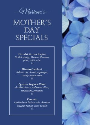 Mothers Day Specials Tabletop Insert