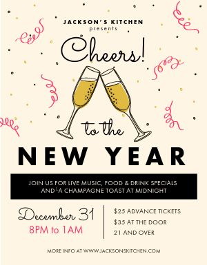 New Years Eve Cheers Flyer
