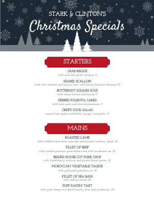 Christmas Snows Menu
