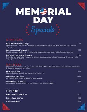Memorial Day Specials Menu
