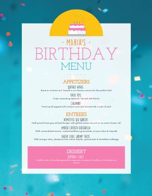 Colorful Birthday Menu