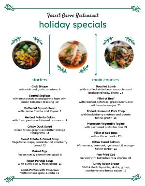 Christmas Specialties Menu
