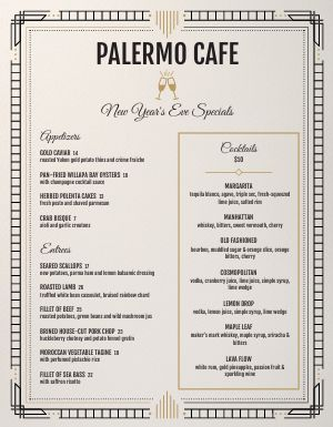 New Years Cafe Menu