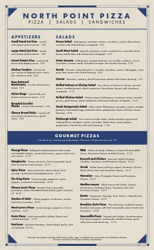 Navy Pizza Menu