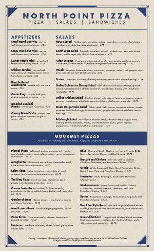 Navy Pizza Menu