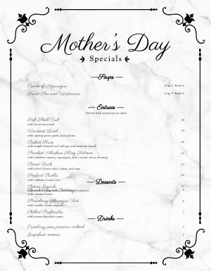 Specialty Mothers Day Menu