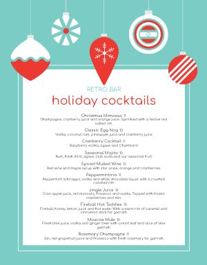 Christmas Winter Blue Menu