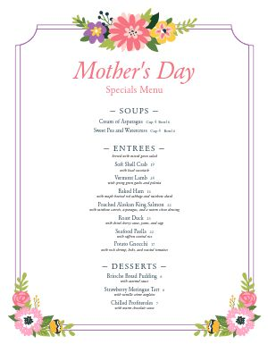 Sample Mothers Day Menu