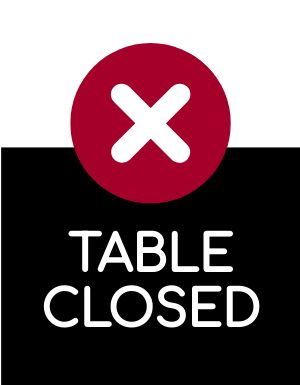 Table Closed Sign