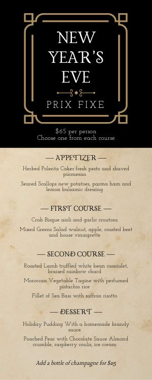 New Years Prix Fixe Half Page Menu