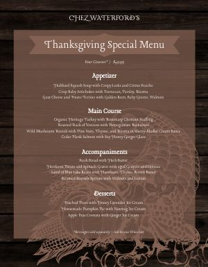Thanksgiving Cornucopia Menu