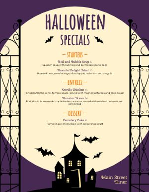 Halloween Holiday Specials Menu
