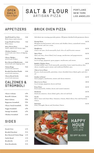 Handcrafted Pizza Menu