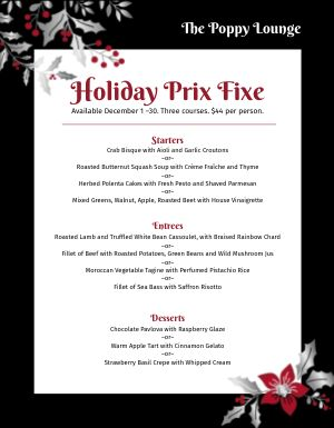 Christmas Flowers Menu