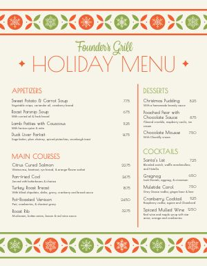 Specialty Christmas Menu