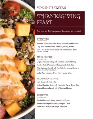 Thanksgiving Tavern Menu