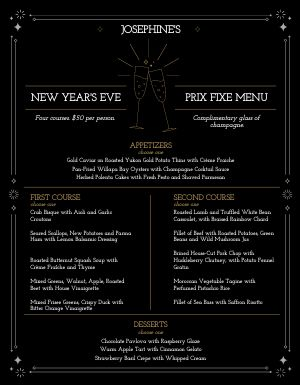 New Years Prix Fixe Menu