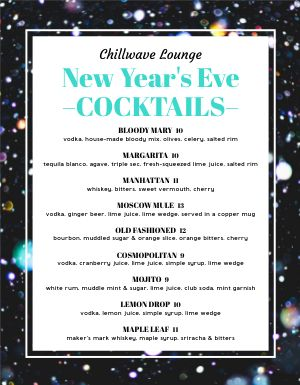 New Years Cocktails Menu