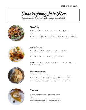 Thanksgiving Basic Menu