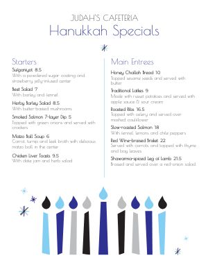 Hanukkah Candles Menu