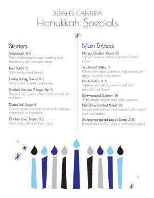 Hanukkah Candles Menu