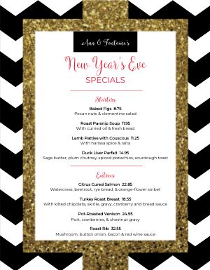 Fancy New Years Menu