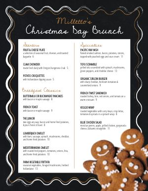 Christmas Gingerbread Menu
