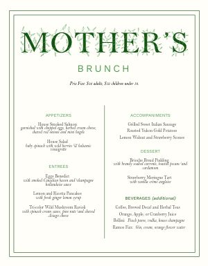 Simple Mothers Day Menu