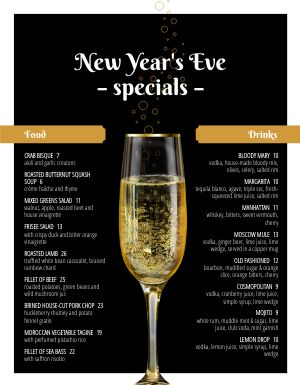 New Years Toast Menu