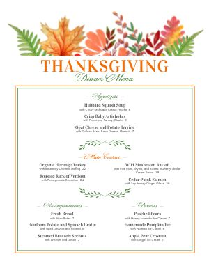 Seasonal Thanksgiving Menu
