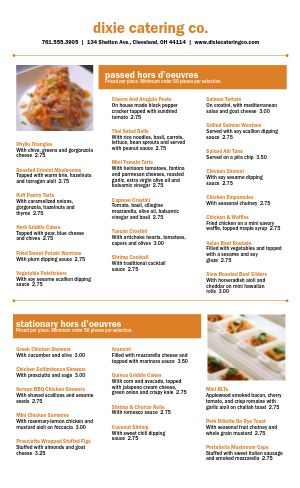 Orange Catering Menu