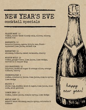 New Years Typewriter Menu
