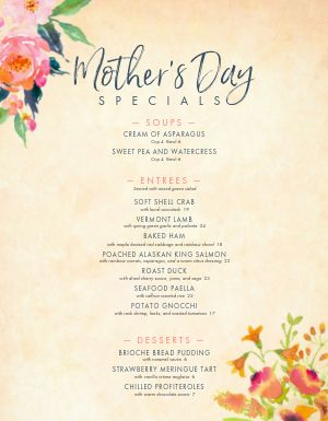 Elegant Mothers Day Menu