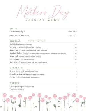 Mothers Day Menu Inspiration