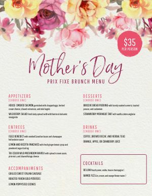 Mothers Day Menu Sample