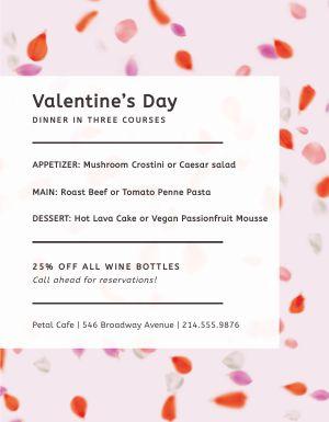 Valentines Day Prix Fixe Flyer
