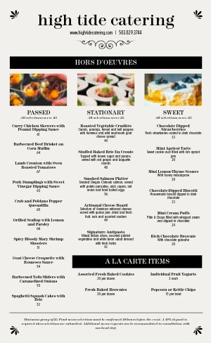 Cafe Catering Menu