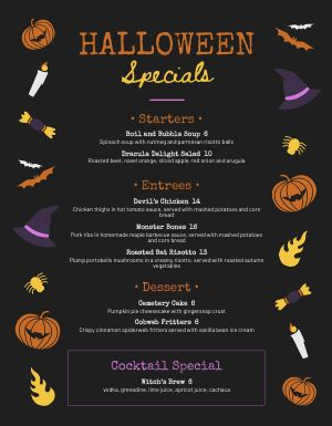 Halloween Candy Menu