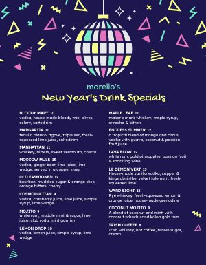 New Years Party Menu