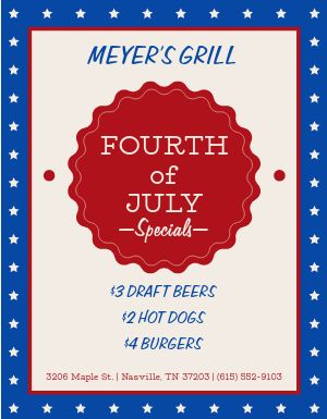 July Fourth Specials Flyer