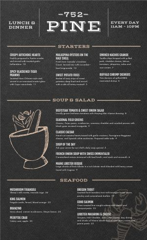 Charcoal Steakhouse Menu
