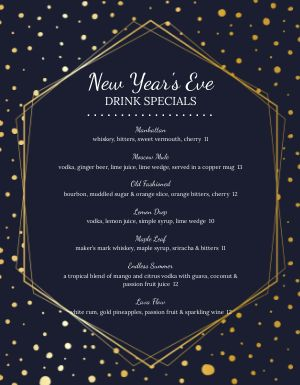 New Years Eve Stars Menu
