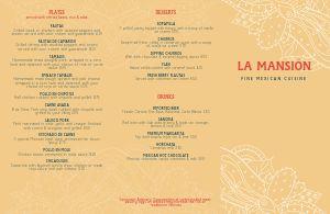 Mexican Cuisine Folded Menu