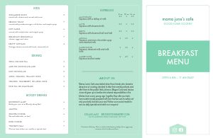 Fresh Breakfast Folded Menu