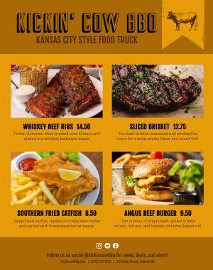 BBQ Style Food Truck Menu Poster