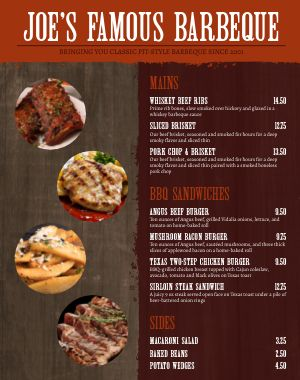 Southern Food Truck Menu Poster